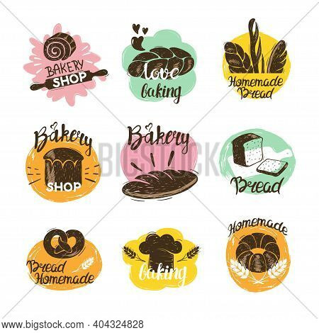 Bakery Logotypes Set. Colorful Doodle Bakery Logos And Labels Collection Of Bread