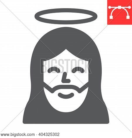 Jesus Glyph Icon, Happy Easter And Christmas, Jesus Christ Vector Icon, Vector Graphics, Editable St