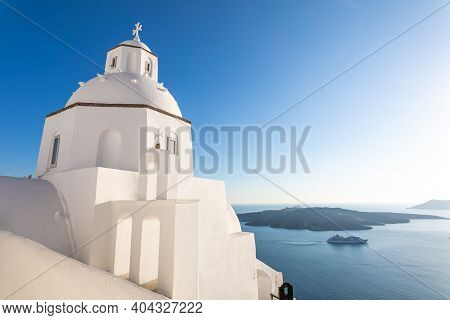 Artistic View Belltower Of A Church With A View Of Santorini Volcanic Caldera And Ships In It, Santo