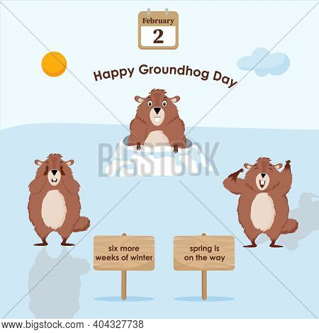 Happy Groundhog Day. Flowchart With An Illustration Of A Funny Groundhog.