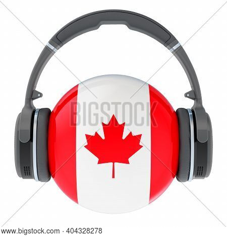 Headphones With Canadian Flag, 3d Rendering Isolated On White Background