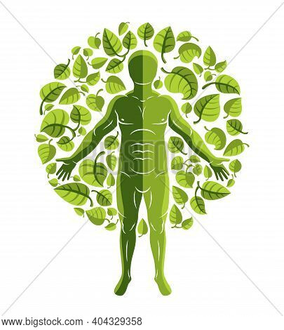 Vector Illustration Of Human, Athlete Surrounded By Eco Green Leaves. Environmental Conservation The