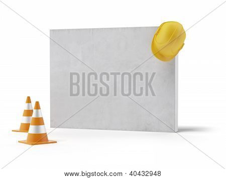 Blank wall With Yellow Helmet