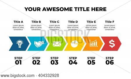 Arrows Vector Infographic. Timeline With 6 Steps, Options, Processes. Presentation Slide Template. C