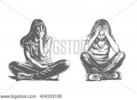 Sad And Depressed Girls Sitting On The Floor. Depressed Teenager. Creative Vector Illustration