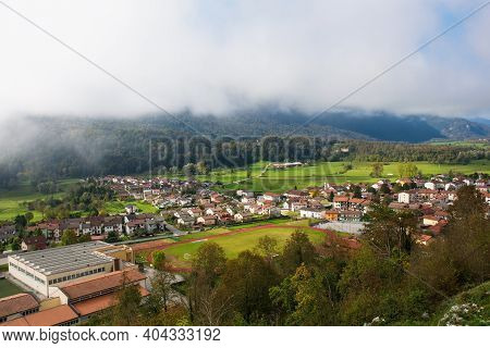 A View Of The Town Of Kobarid In The Slovenian Littoral Or Primorska Region Of Western Slovenia On A