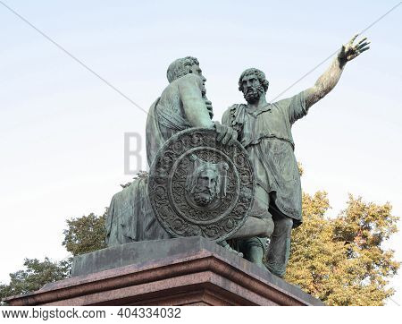 Red Square. Statue Of Minin And Pozharsky, The Liberators Of Moscow.