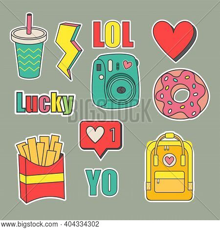 Collection Of Teenage Stickers And Patches. The Stickers Are Made In Cartoon Style And Bright Colors