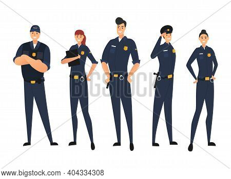 Police Set In Uniform Isolated On White Background. Police Man And Police Woman, Cops. Protection Of