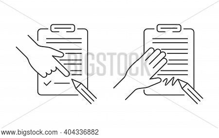Terms And Conditions Agreement And Contract Signing Icons In Thin Line. Pencil With Document On Clip