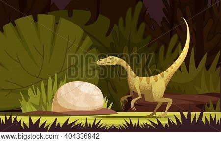 Dinosaurs Cartoon Illustration With Eodromaeus Ancient Small Predator From Argentina Flat Vector Ill