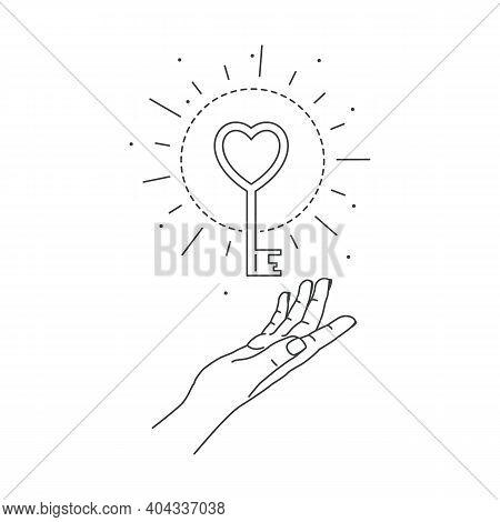 Vector Illustration Of Hand And Mystic Love Key. Line Art Style. Boho Symbol. Feminine Gesture. Myst