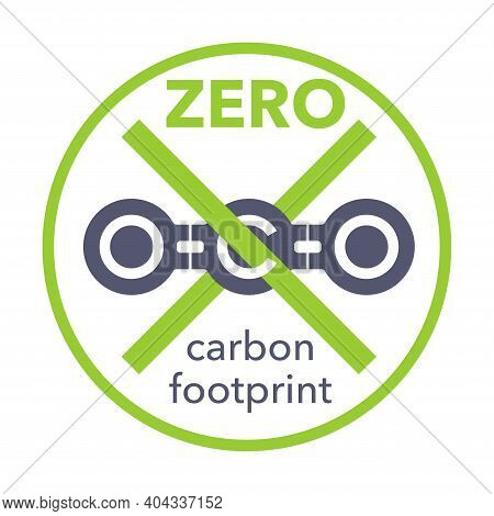 Net Zero Carbon Footprint Sign With Crossed Out Carbon Molecule. Co2 Neutral Sticker - Carbon Emissi