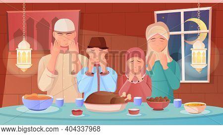 Family Praying Before Iftar Dinner During Ramadan Flat Vector Illustration