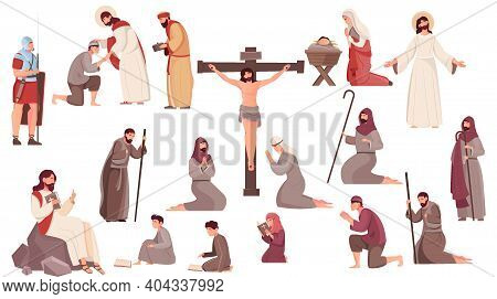 Easter Flat Icons Set With Crucifixion Resurrection And Birth Of Jesus Christ And Praying People Iso