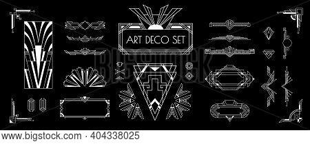 Art Deco White Silver Vintage Style Decorative Elements Templates Frames Designs Set Black Backgroun