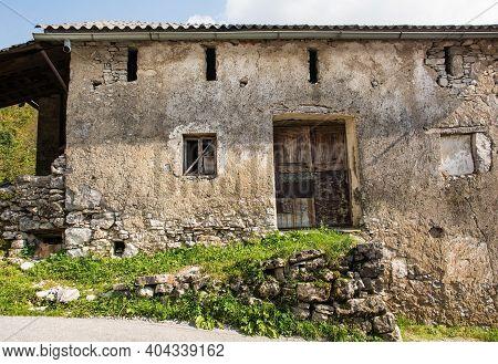 Old Abandoned Farm Building In Zadlaz-cadrg Near Zatolmin In The Tolmin District Of The Slovenian Li