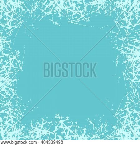Winter White Ice Crystals Texture Background. Holiday Frame With Frosted Patterns. Jpeg Illustration