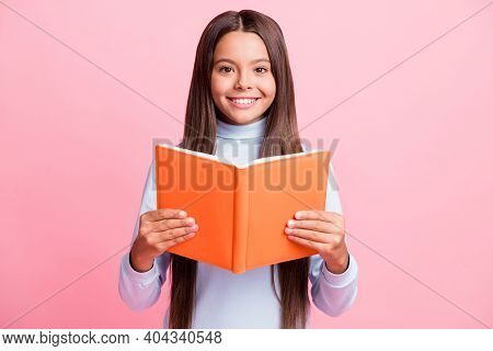 Portrait Of Charming Content Cheerful Brainy Brown-haired Girl Reading Academic Book Isolated Over P