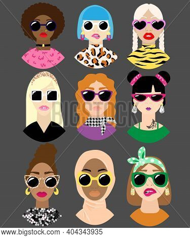 Girls In Trendy Sunglasses. Beautiful Woman's Face. Variety Of Ethnicities, Hair Colours And Hairsty