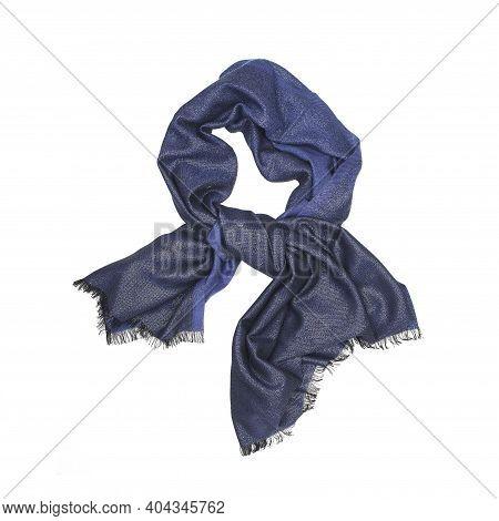 Dark Blue Female Shawl/scarf Isolated On White Background