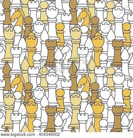 Seamless Pattern With Chess Piece. Hand Drawn Background For Surface Textures. King, Queen, Pawn, Bi