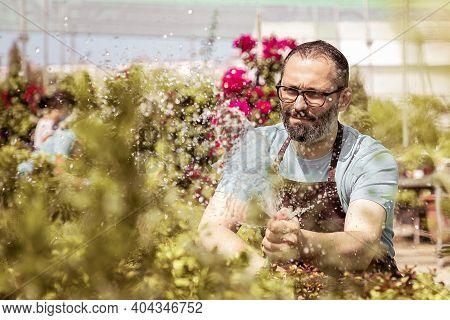 Caucasian Farmer Splashing Water Drops And Watering Garden From Hose. Frowning Bearded Gardener Wear