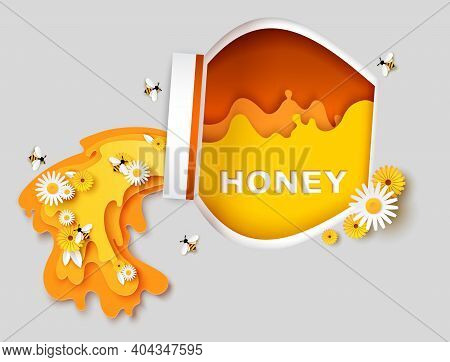 Natural Honey Vector Poster Template. Paper Cut Glass Honey Jar, Cute Bees Flying Over Flowers And C