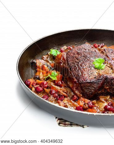 Braised  Beef With Cranberries And Vegetables Isolated On White