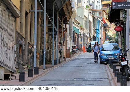 Istanbul, Turkey - October 07, 2020. View Of The Kumbaraci Street During Pandemic. Beyoglu District,
