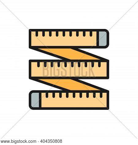 Measuring Tape, Tailor Centimeter, Roulette Flat Color Line Icon.