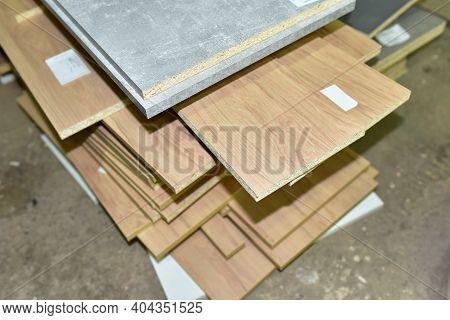 Fragment Of A Wooden Panel Made Of Fiberboard In Workshop. Medium Density Fiberboard Mdf . Woodworki