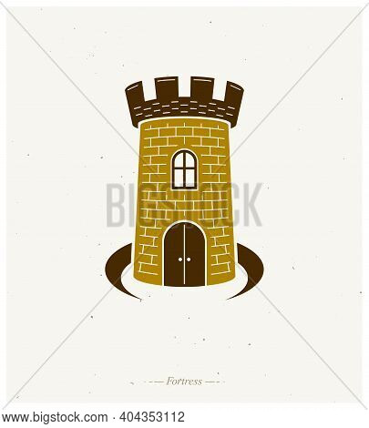Medieval Tower Decorative Isolated Vector Illustration. Retro Fort Logo In Old Style Isolated On Whi