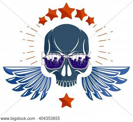 Skull In Sunglasses And Hat, Urban Theme Vector Logo Or Emblem, Gangster Or Thug Illustration, Anarc