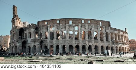 Rome, Italy - February 7, 2020:  Colosseum Close-up Of Architectural Structures
