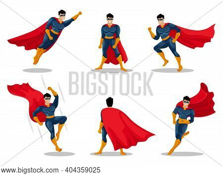 Superheroes Characters With People Wearing Colorful Costumes In Different Poses And Actions. Hero Se