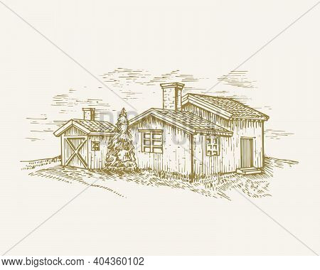 Hand Drawn Rural Buildings Landscape Vector Illustration. Farm With Barns And Pine Tree Sketch. Vill