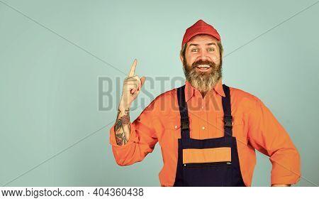 New Idea. Man Wear Boilersuit. Bearded Worker In Overalls. Confident Mature Mechanic. Portrait Of Re