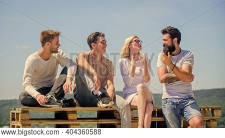 Enjoying Time Together. Best Friends. Summer Vacation. Happy Men And Girl Relax. Group Of People In