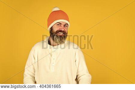 Head In Warm Hat. Mature Emotional Hipster Funny Style Accessory. Bearded Hipster. Handsome Man Knit