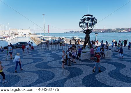 Lisbon, Portugal - October 01, 2019:  Tourists Visit The  Belem Monument To The Discoveries Near Tag