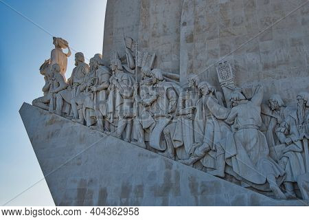 Lisbon, Portugal - October 01, 2019: Close Up Of Belem Monument To The Discoveries  In Belem Distric
