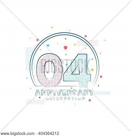 4 Years Anniversary Celebration, Modern 4 Anniversary Design Vector Illustration