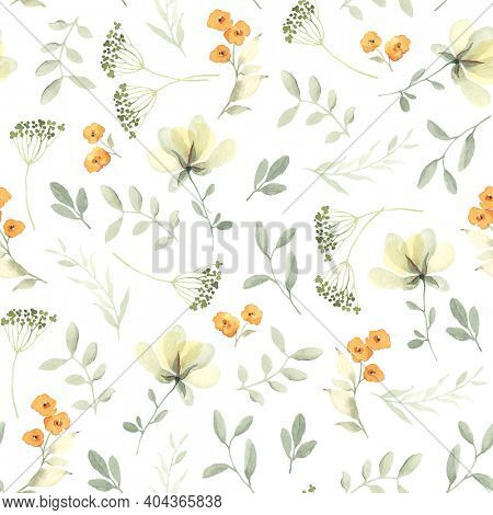 Watercolor seamless pattern with abstract yellow flowers and green leaves in pastel colors. Floral illustration on white background.