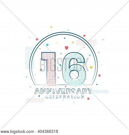16 Years Anniversary Celebration, Modern 16 Anniversary Design Vector Illustration