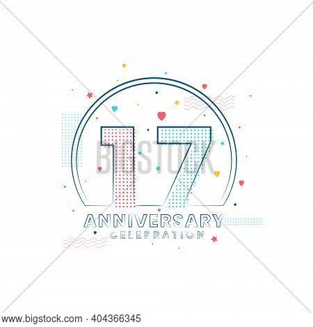 17 Years Anniversary Celebration, Modern 17 Anniversary Design Vector Illustration