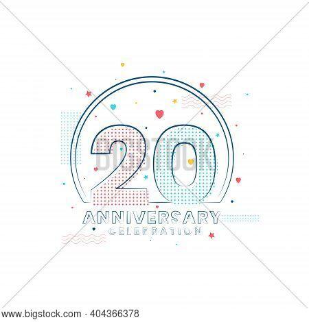 20 Years Anniversary Celebration, Modern 20 Anniversary Design Vector Illustration