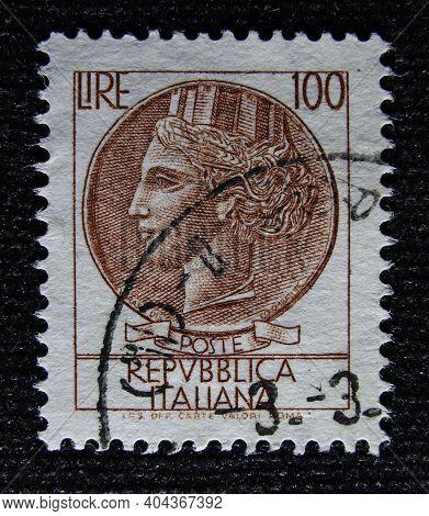 Istanbul, Turkey - January 02, 2021: Italian Stamp Shows Italia