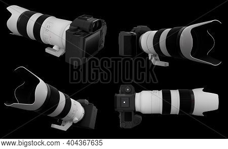 Concept Of Nonexistent Dslr Camera With Lens Isolated On A Black Background.