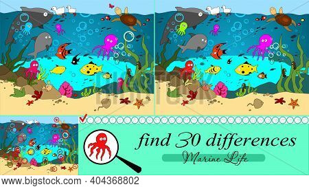 Vector Cartoon Illustration With The Marine Inhabitants. Find 30 Differences.